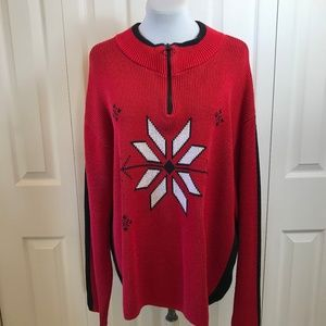 Hanna Andersson 1/4 Zip Snowflake Nordic Sweater L